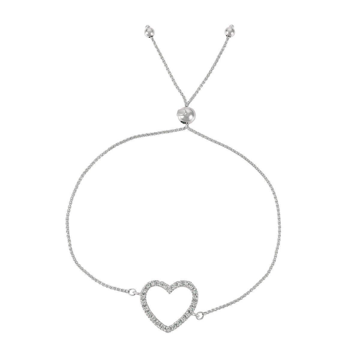 Bolo Diamond Heart Adjustable Friendship Bracelet 14k White Gold (0.25ct)