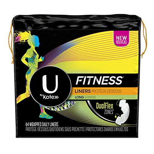 U by Kotex Unscented Long Light Absorbency Fitness Panty Liners, 64 Count (Pack Of 6) (Pack May Vary) Kotex Panty Liners