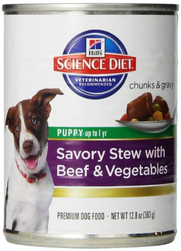 Hill'S Science Diet Puppy Savory Stew Beef And Vegetables Dog Food Can, 12.8 Oz, 12-Pack