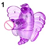 Butterfly Vibrator Strap On G-Spot Massager Wireless Control Vibrating Sex Toy - Purple