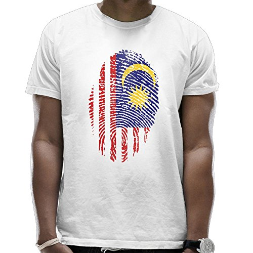 Malaysia Flag Finger Print Adult Male Humorous T Shirts