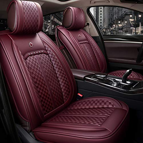 Easy To Clean PU Leather Car Seat Cushion 5 Seats Full Slip Non-Slip Suede Backing Universal Suitable for Most Five-Seater Cars,C: Sports & Outdoors