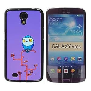 TECHCASE**Cubierta de la caja de protección la piel dura para el ** Samsung Galaxy Mega 6.3 I9200 SGH-i527 ** Owl Blue Big Eyes Yellow Art Tree Branch