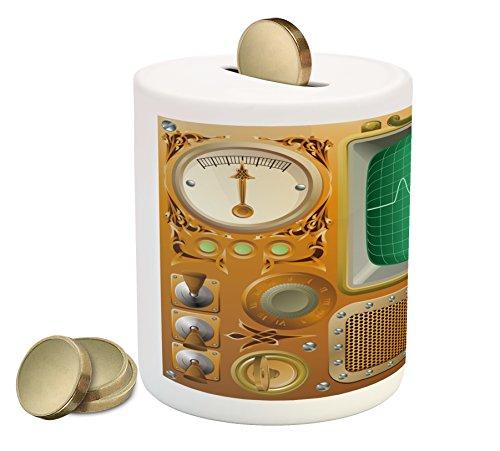 Ambesonne Retro Piggy Bank, Industrial Victorian Style Grunge Steampunk TV Gauger Retro Clockwork, Printed Ceramic Coin Bank Money Box for Cash Saving, Orange Green Pale Grey