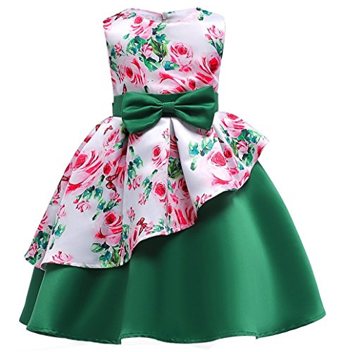 Girls Special Occasion Flower Dresses Kids Floral Print Party Dress