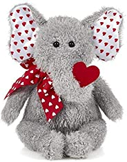 Bearington Hugh Loves You Valentines Plush Stuffed Animal Elephant with Heart, 13 inches
