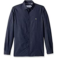 Lacoste Men's Long Sleeve Slim Fit Blue Pack Jacquard Dot Button Down