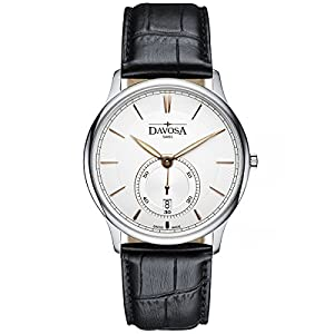 Davosa Swiss Flatline 16248365 Analog Men Wrist Watch Genuine Leather, White
