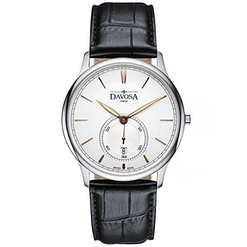 Davosa Swiss Made Quartz Watch - Analog Battery Movement Professional Wrist Watch Flatline with Genuine Leather Strap Band (16248365) from DAVOSA