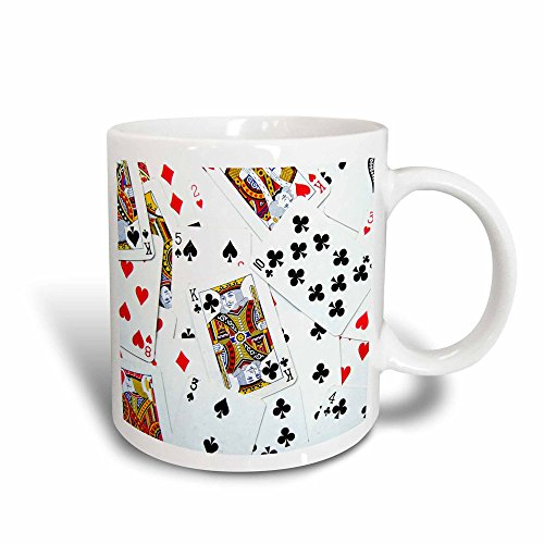 3dRose mug_112896_3 Scattered Playing Cards Photo for Card Game Players Eg Poker Bridge Games Casino Magic Transforming Mug, 11-Ounce