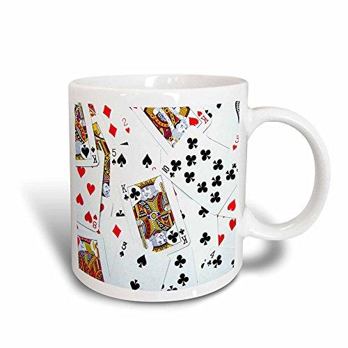 3dRose mug_112896_3 Scattered Playing Cards Photo for Card Game Players Eg Poker Bridge Games Casino Magic Transforming Mug, 11-Ounce