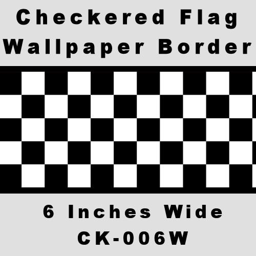 Nascar Border - Checkered Flag Cars Nascar Wallpaper Border-6 Inch (Black Edge)