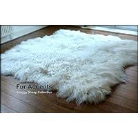 Fur Accents Shaggy Faux Sheepskin Area Rug / White / Freeform Shape / 3x5