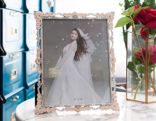 WorldWide Selection Home - Metal Photo Frame/Picture Frame, 4 x 6 inch, Real Clear Glass Front Cover, Vintage European Retro Style, Tabletop Horizontally or ()
