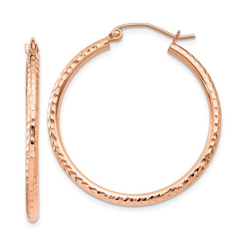 14K Rose Gold Diamond Cut Tube Hoop Earrings, (2mm Tube) (30mm)