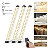Dimmable Under Cabinet Lights,LED Kitchen Lighting with Controller,Timing Function,Warm White Cupboard Lights for Closet/Wardrobe/Drawer/Counter/Workshop Lighting(3 Pack)