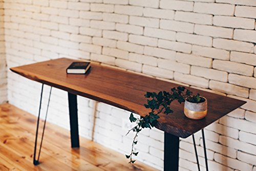 Big Walnut Table. Suitable for a Dining Table or Office Desk. Reclaimed Wood Furniture. Steel legs with Live Edge Top…