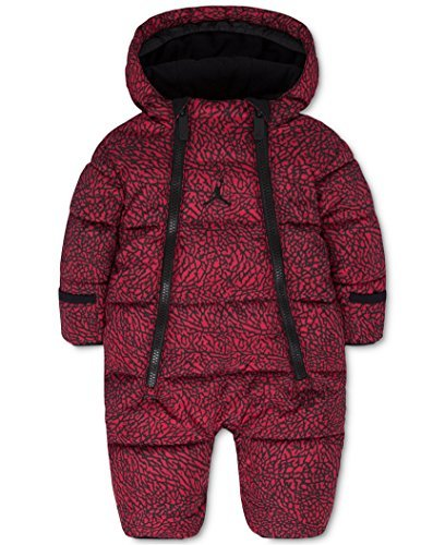 Jordan Baby Boys' or Baby Girls' Hooded Abstract-Print Snowsuit Bunting (3-6 Months, Gym Red (R78) / Black/Gym Red) by Jordan