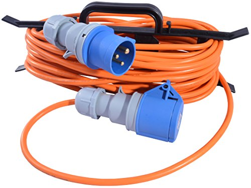 All Lengths Caravan Camping Motorhome Hook Up Cable 16A Site Extension Lead Electric 16 AMP to 16 AMP (1.5mm 3183Y PVC Orange Flex) with FREE Cable Carrier Reel (15m)