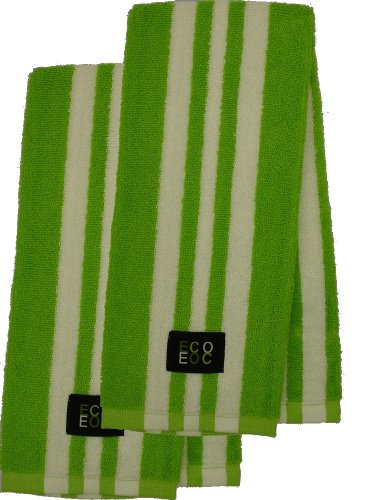 Cotton Kitchen Towel (Lime Green with White Rugby Stripe, - 420 Rugby