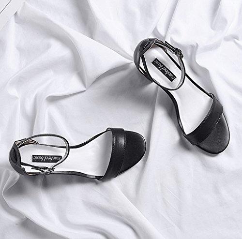 Alto Alto de de crudas Abierta Zapatos con Sexy Tacón nuevos HJHY® de Punta de Tacón Negro Tacón de Sandalias Zapatos Frescos Verano Zapatos Sandalias Tacón Alto wq8vWZEC