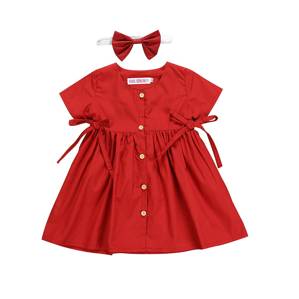 Kingspinner Girls Dress Summer Short Sleeve Bowknot Princess Party Dresses with Hairband (Red, 2-3 Years)