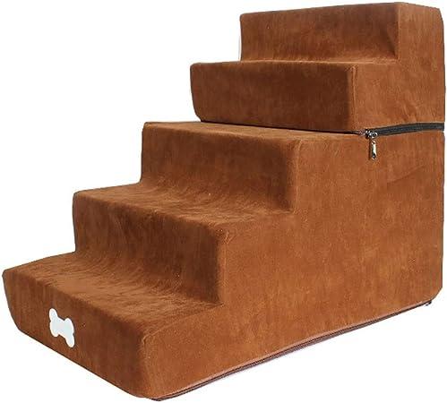 Rclt Escaleras for Mascotas for Subir a la Cama Alta Fácil 5 Pasos con Funda Lavable