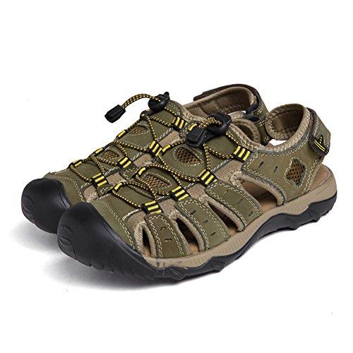 Al PU Casuales Zapatos Cuero de Hombres Transpirable Cerrada Caqui Libre Zapatillas Playa Aire Verano Sandalias CntSxO8xq