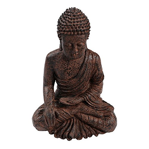 Seated Buddha Meditating Statue Brown Bhumisparsa Mudra Resin 14 1/4