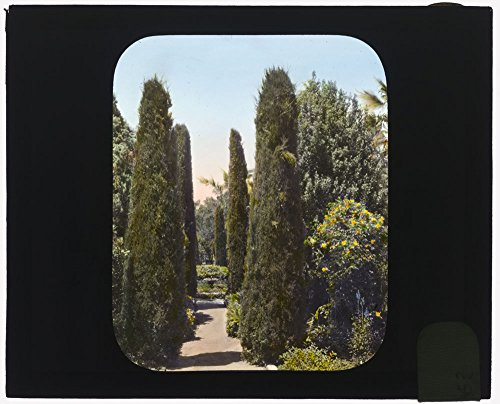 (Historic Photos Glendessary, Robert Cameron Rogers house, Glendessary Lane, Mission Heights, Santa Barbara, California. Along the fountain)
