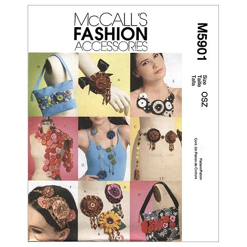 McCall's Patterns M5901 Brooches, Belt, Necklaces, Headband, Bags and Scarf With Yo-Yo Treatments, One Size Only (Scarf Headband Belt)