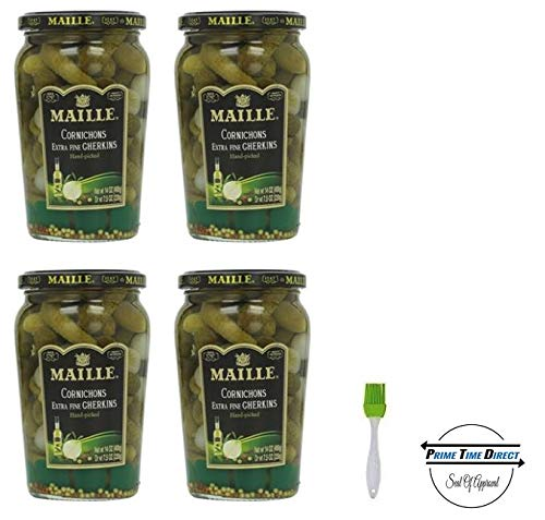 Maille Original Cornichons Gherkins, 13.5 oz (Pack of 4) with Silicone Basting Brush in a Prime Time Direct Sealed - Gherkin Pickles