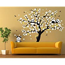 """CaseFan Pandas Plying on Trees Branches Wall Decal for Living Room TV Background Removable Decoration Art Sticker 86.6x70.9"""",Black+White"""