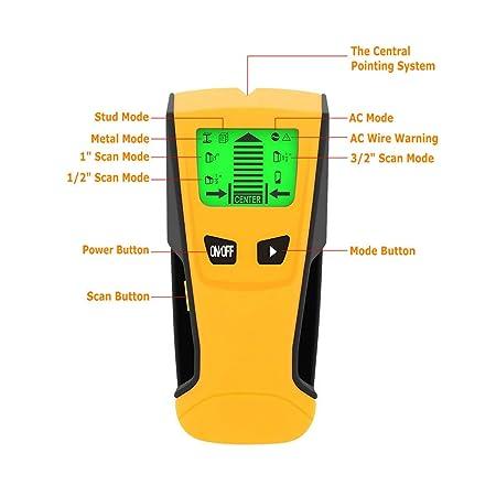 GuDoQi Detector De Pared 3 en 1 Inalámbrico De Metal Detector De Pared Multi-Escáner Con Pantalla LCD Grande Buscador De Alta Precisión Stud Para Metal ...