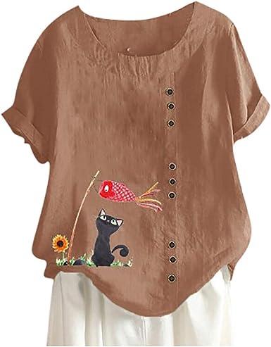 Plus Size Women Cat Print Short Sleeve Baggy Loose Cotton Linen T Shirt Blouse