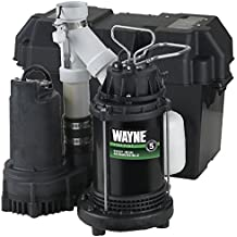 WAYNE WSS30V Pre-Assembled 120/12V 1/2 HP Primary and Battery Backup Combination Sump Pump System