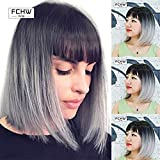 FCHW wig Sell Well Glamour Bob Wig Black Gray Ombre Madam Wig Female Popular Short Straight Wig Sets Soft Touch For Women Center Part Wig Blended Full Cap Wig ForeignWig