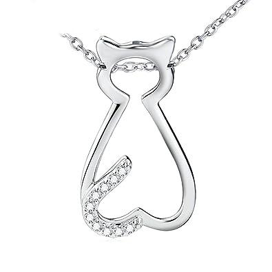 0e3677648 Amazon.com: Daesar Silver Plated Necklace for Women Cute Kitten ...