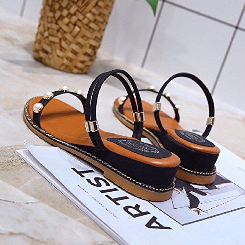 Btrada Slides Sandalen Voor Dames-zomer Open Teen Slip Op Platte Schoenen B-zwart