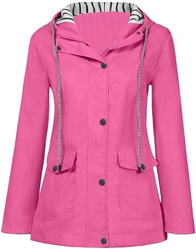 Womens Hoodies Raincoat,Ladies Long Sleeve Plus Size Jacket Zip Up Pockets Solid Button Waterproof Windproof Coat Tops