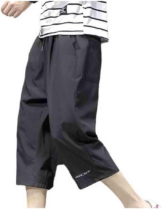Candiyer メンズ 3/4 長ズボン ファッション プラス サイズ リラックス フィット レッグ パンツ
