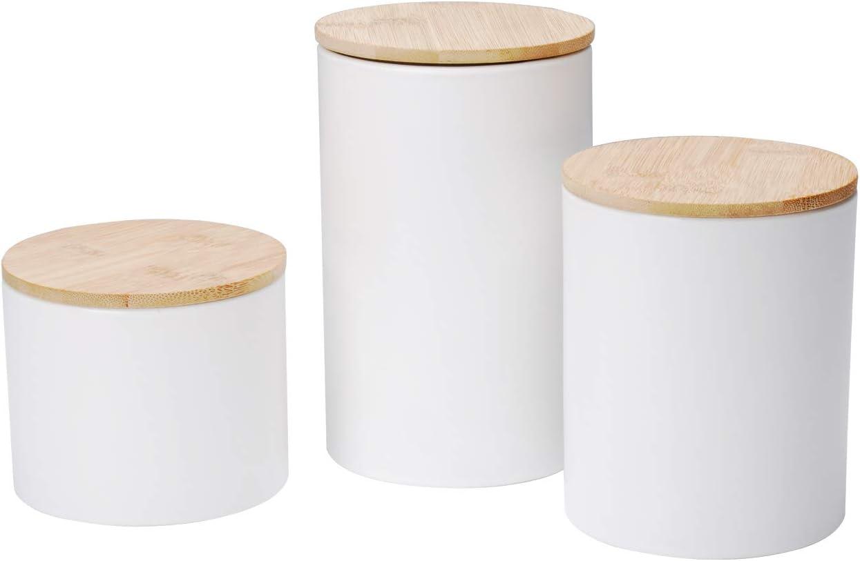 Xiteliy Ceramic Canister Set Tea Coffee Sugar Storage Pots Jars Kitchen Food Storage with Bamboo Lid Set of 3