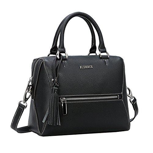 Heshe Womens Handbags Leather Shoulder Bag Tote Bags Top Handle Bag Ladies Designer Purses Crossbody Bag (Black)