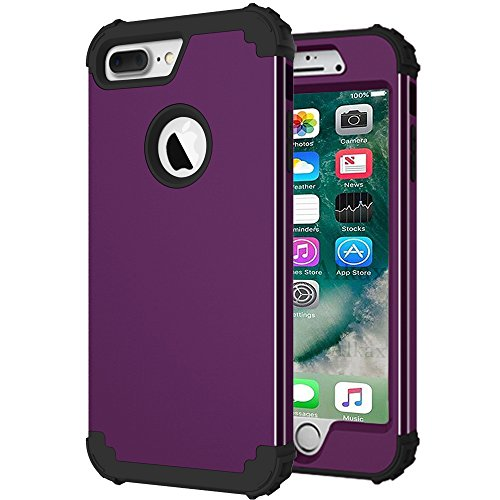 iPhone 6 Case ,iPhone 6S Case, Alkax Heavy Duty Slim Dual Layer Armor Scratch Resistant Hybrid Shockproof Rugged Protection Cover Bumper for Apple iPhone 6 + Stylus Pen (Dark Purple)