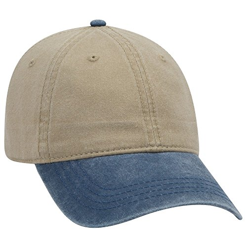 OTTO 6 Panel Low Profile Garment Washed Pigment Dyed Baseball Cap - NVY/KHA