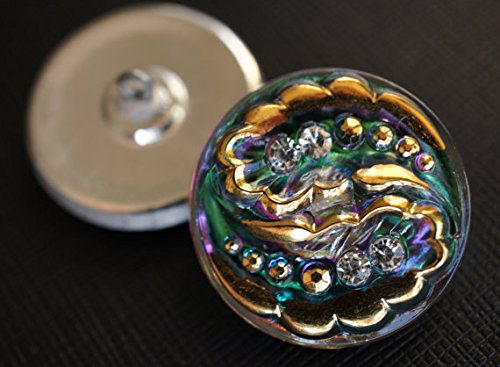 Hand Made Art Czech Glass Buttons Gold Green-Purple with Crystal Rhinestones Size12, 27mm - Czech Gold Glass Button