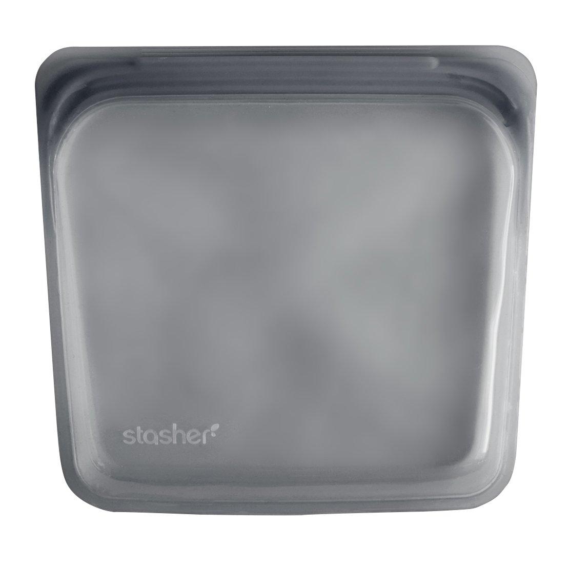 Stasher Reusable Silicone Food Bag, Sandwich Bag, Sous vide Bag, Grey STSB07