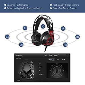 GAMING HEADSET dodocool Professional Headphone With Enhanced 7.1 Surround Over-Ear Stereo Breathe LED Light Noise Isolation Built-in Mic USB Interface 7.2ft/2.2m Cable For PS4 XBOXOne Nintendo PC MAC