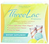 Threelac Probiotic Dietary Supplement, Natural Lemon Flavor, Includes 60 .053-Ounce Packets (Pack of 3)