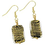 GlassOfVenice Murano Glass Vivaldi Earrings - Black and Gold